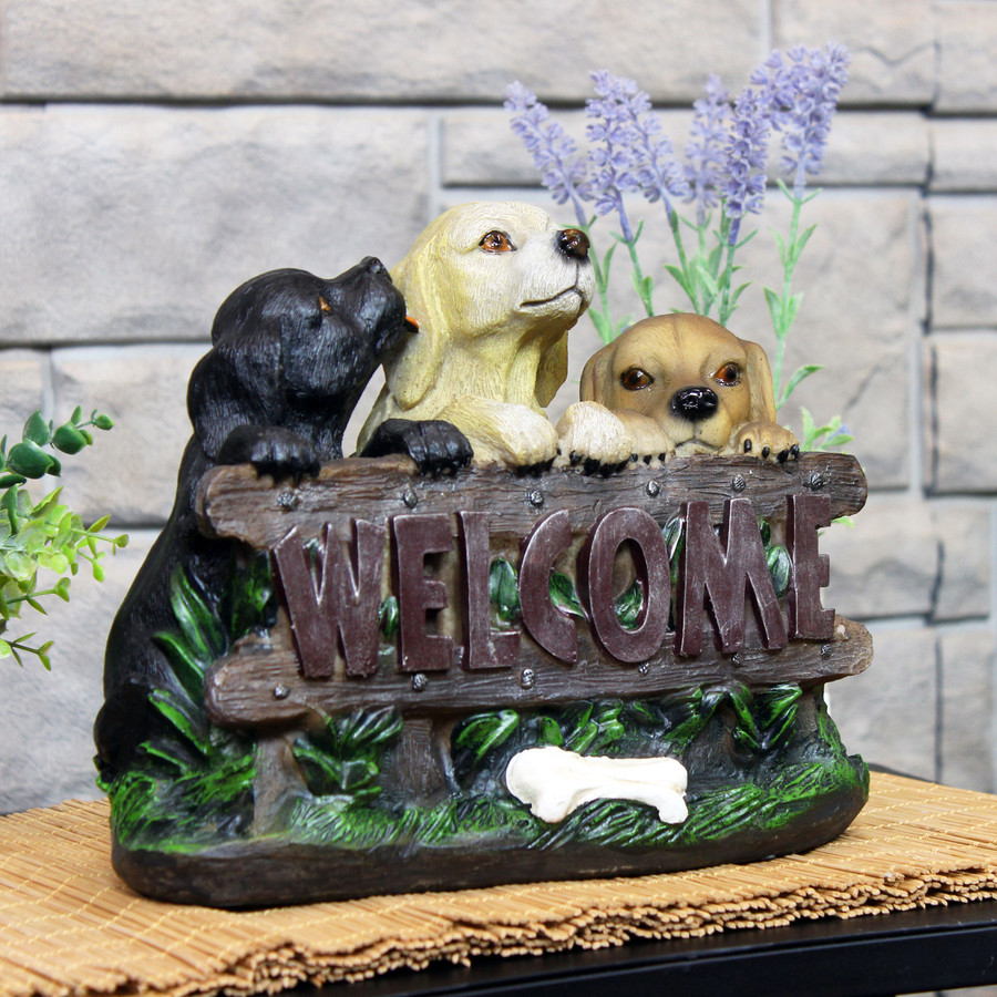 Sunnydaze Welcoming Puppies Indoor/Outdoor Garden Statue, 8-Inch Main Lifestyle