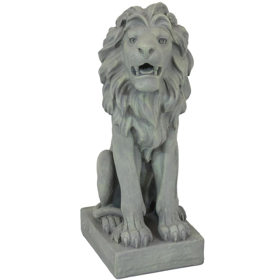 Sunnydaze Noble Beast Sitting Lion Outdoor Statue, 30-Inch