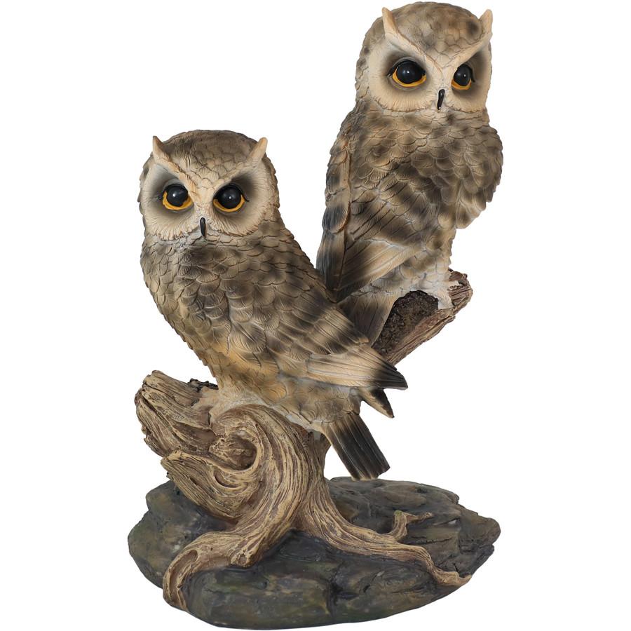 Sunnydaze Watchful Owls Outdoor Garden Statue, 13-Inch