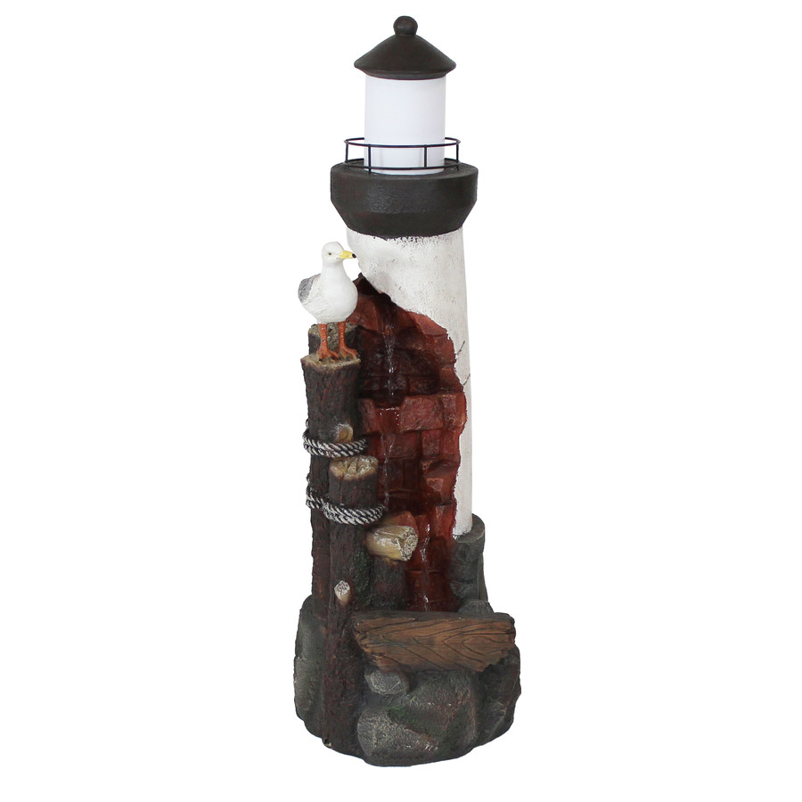 Sunnydaze Gull's Cove Outdoor Lighthouse Water Fountain with LED Light, 36-Inch