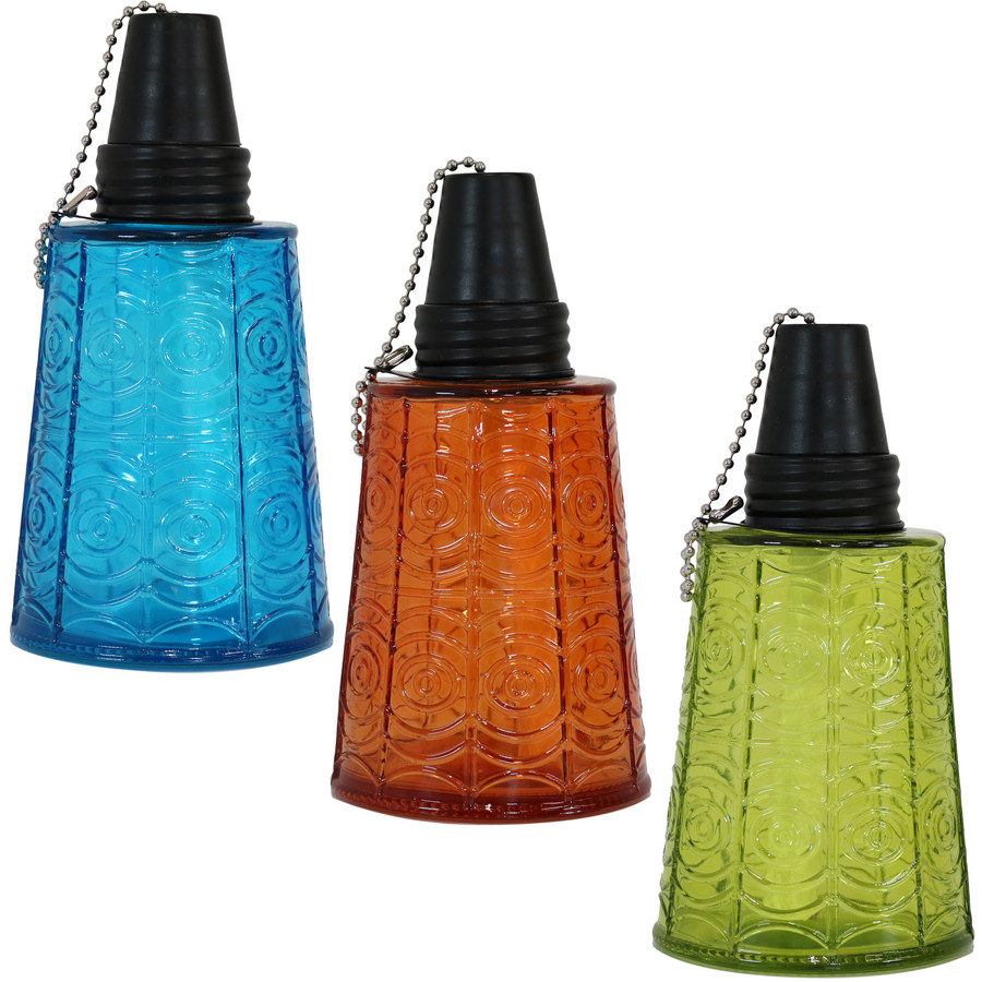 Sunnydaze Set of 3 Glass Tabletop Torches, 1 Blue, 1 Orange and 1 Green