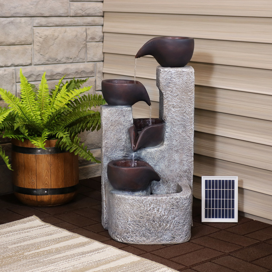 Aged Tiered Vessels Solar Fountain