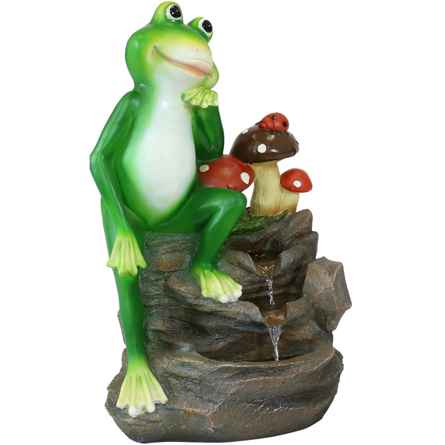 Sunnydaze Mindful Frog Outdoor Water Fountain, 23-Inch