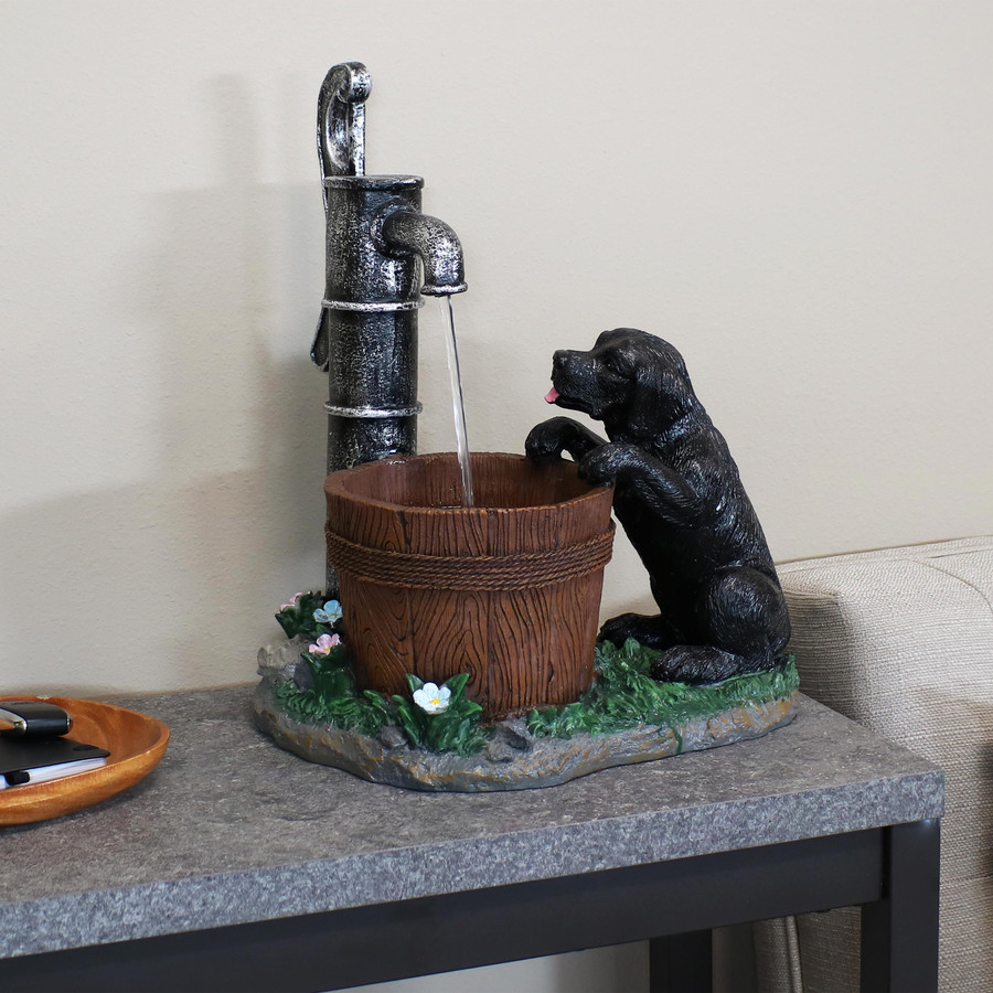Sunnydaze Playful Farmhouse Pup and Water Pump Tabletop Fountain, 16-Inch