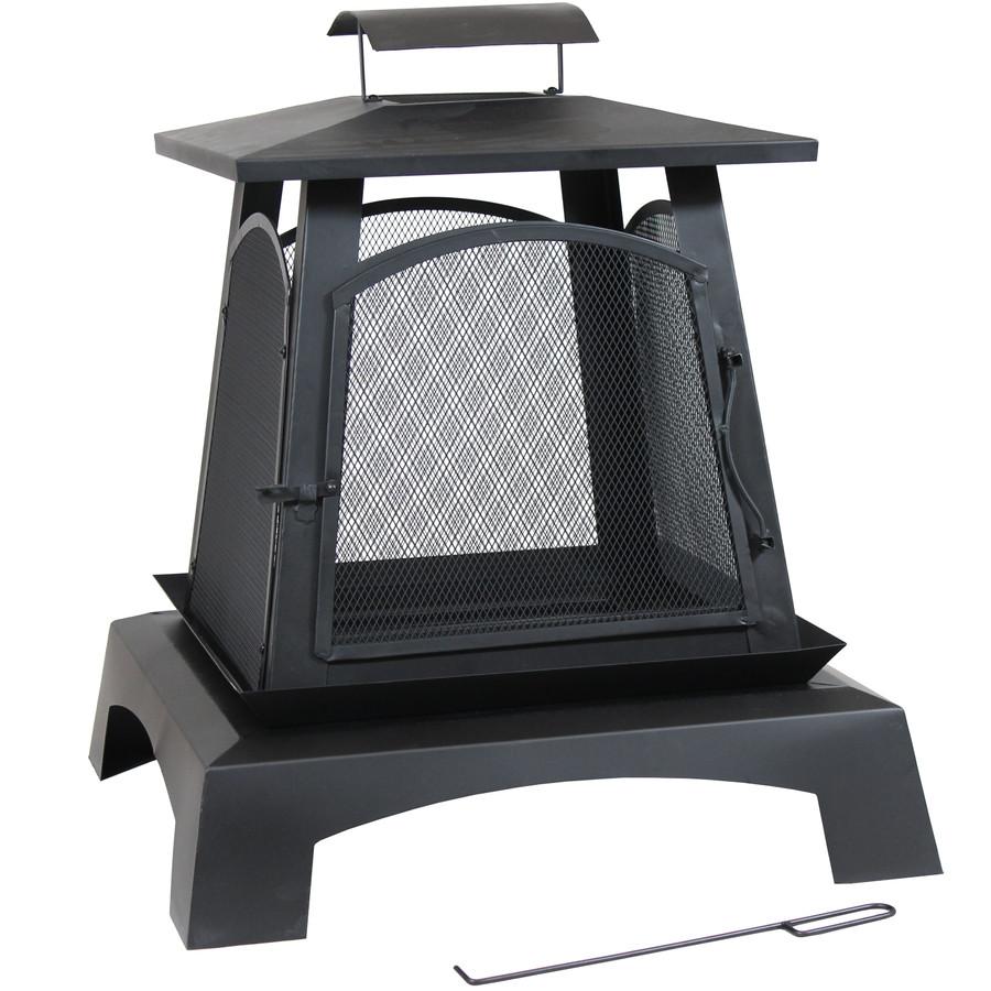 Sunnydaze Pagoda Style Steel with Black Finish Wood-Burning Fire Pit, 32-Inch