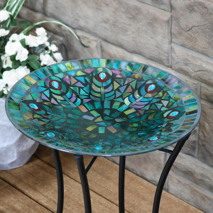 Sunnydaze Mosaic Peacock Feather Glass Mosaic Outdoor Bird Bath with Stand, 14-Inch Diameter