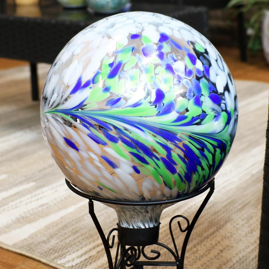 Sunnydaze Floral Spring Splash Outdoor Garden Gazing Globe, 10-Inch