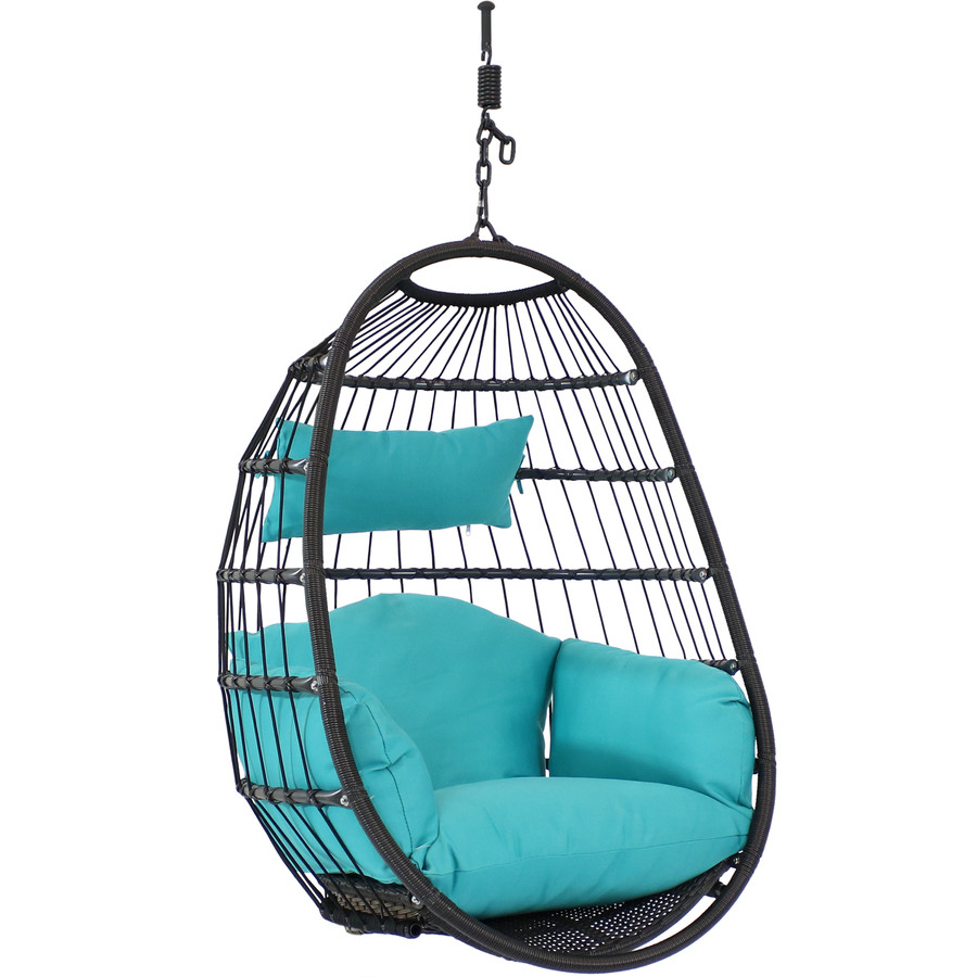 Sunnydaze Decor Penelope Hanging Egg Chair with Seat Cushions, Turquoise