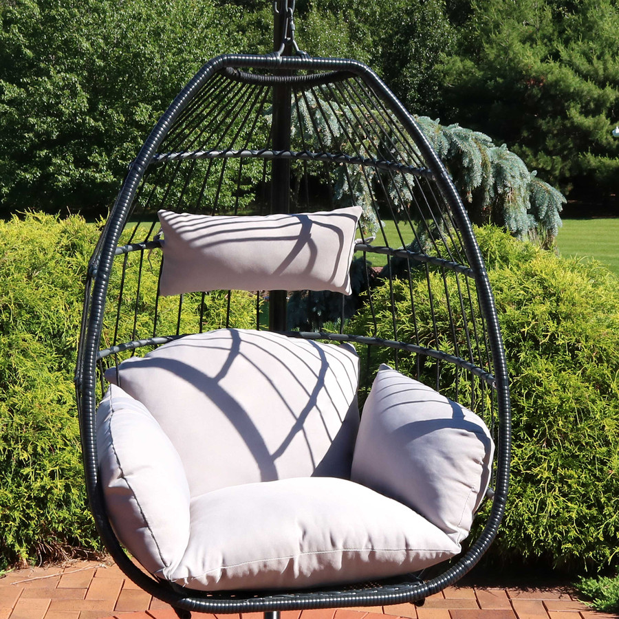 Sunnydaze Oliver Hanging Egg Chair with Seat Cushions, 48-Inch