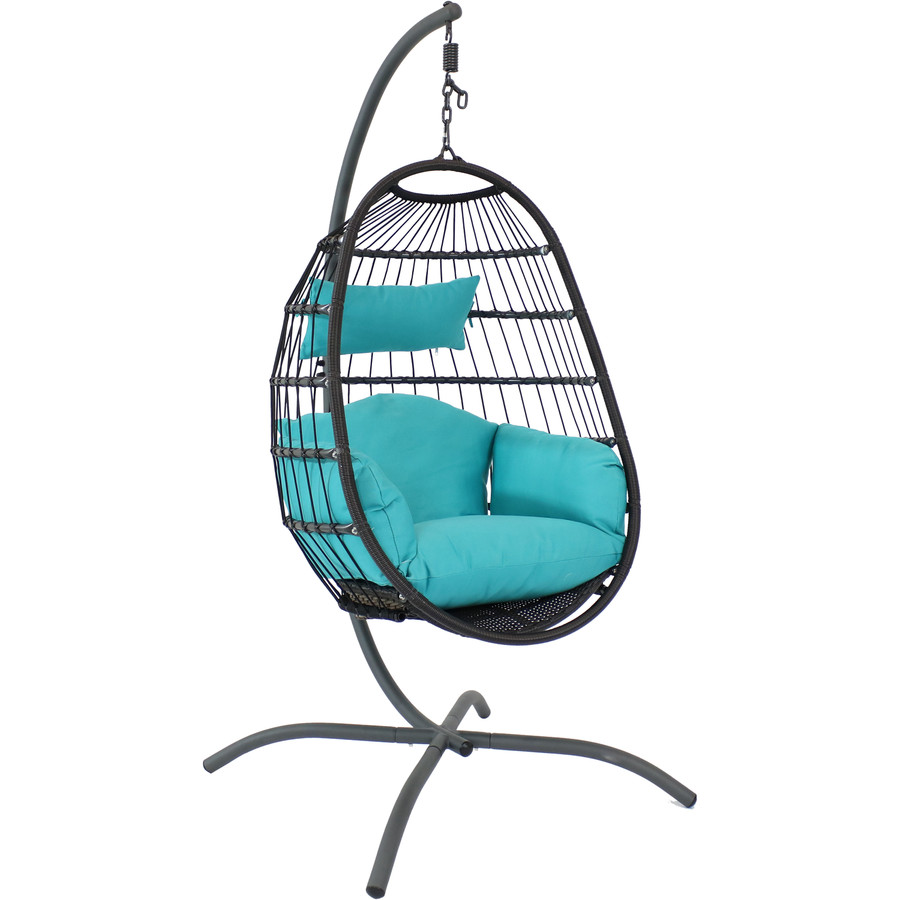 Sunnydaze Penelope Hanging Egg Chair with Seat Cushions and Stand, Turquoise