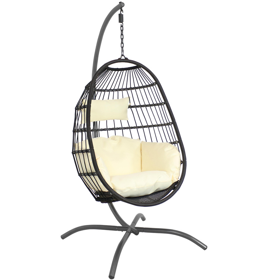 Sunnydaze Penelope Hanging Egg Chair with Seat Cushions and Stand, Cream
