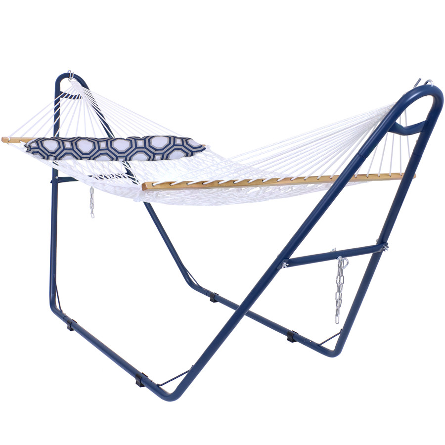 Rope Spreader Bar Hammock with Blue Multi-Use Universal Steel Stand and Blue and Gray Octagon Pillow