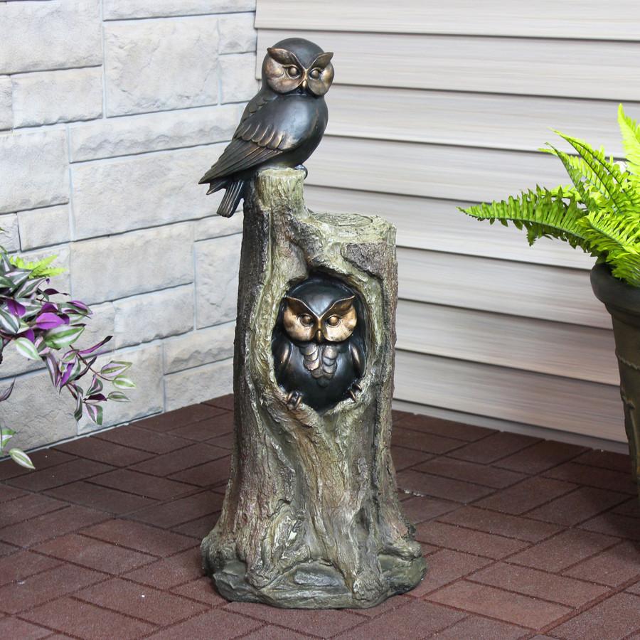 Sunnydaze Owl Duo on Tree Stump Outdoor Garden Statue, 31-Inch