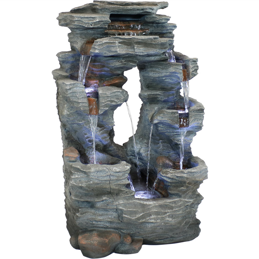 Sunnydaze Dual Cascading Rock Falls Outdoor Garden Water Fountain with LED Lights, 39-Inch