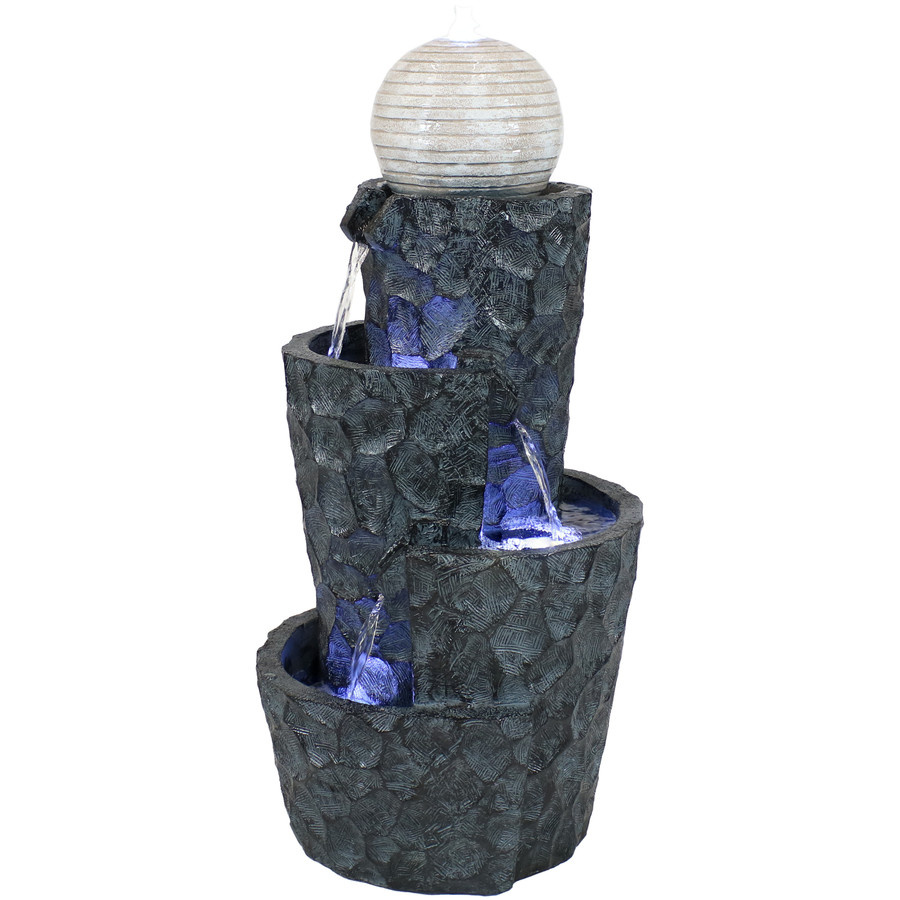 Sunnydaze Hewn Spiral Tower Outdoor Water Fountain with LED Lights and Electric Submersible Pump, 32-Inch