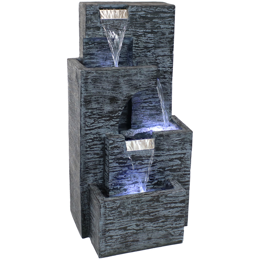 Contemporary Cascading Tower Outdoor Water Fountain