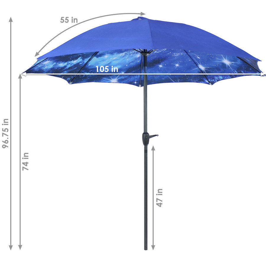 Detailed Dimensions of the Blue Starry Galaxy Patio Umbrella
