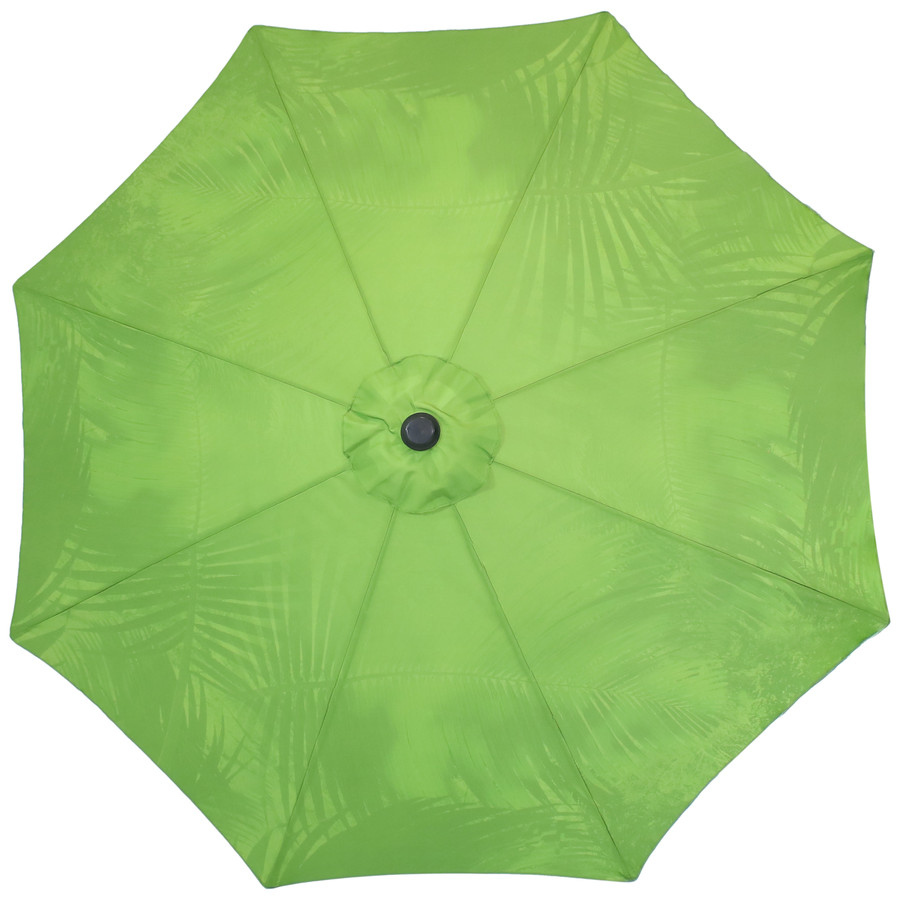 Overhead View of the Green Tropical Leaf Patio Umbrella