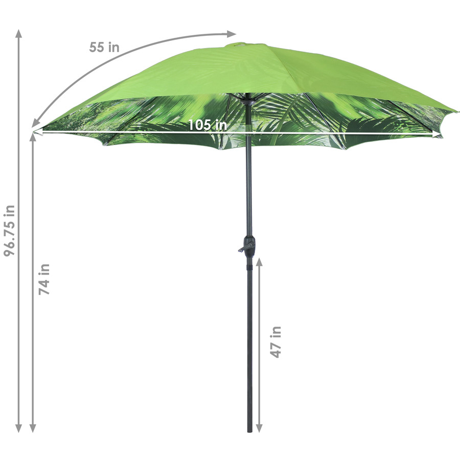 Detailed Dimensions of the Green Tropical Leaf Patio Umbrella