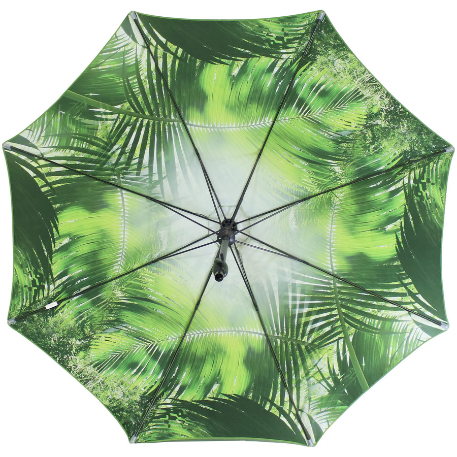 Underside of the Green Tropical Leaf Patio Umbrella
