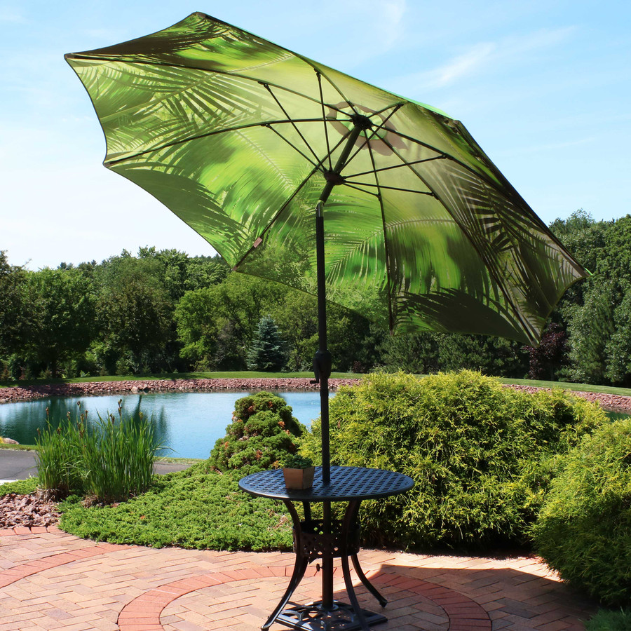Green Tropical Leaf Patio Umbrella