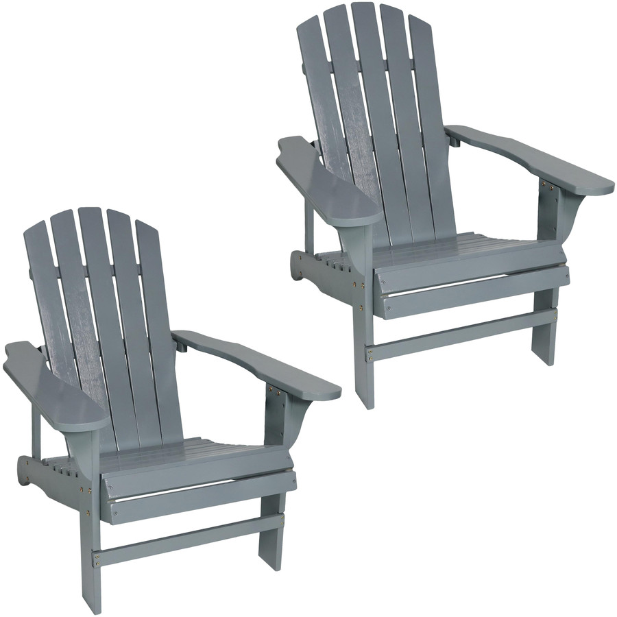 Coastal Bliss Set of 2 Outdoor Wooden Adirondack Patio Chairs, Gray