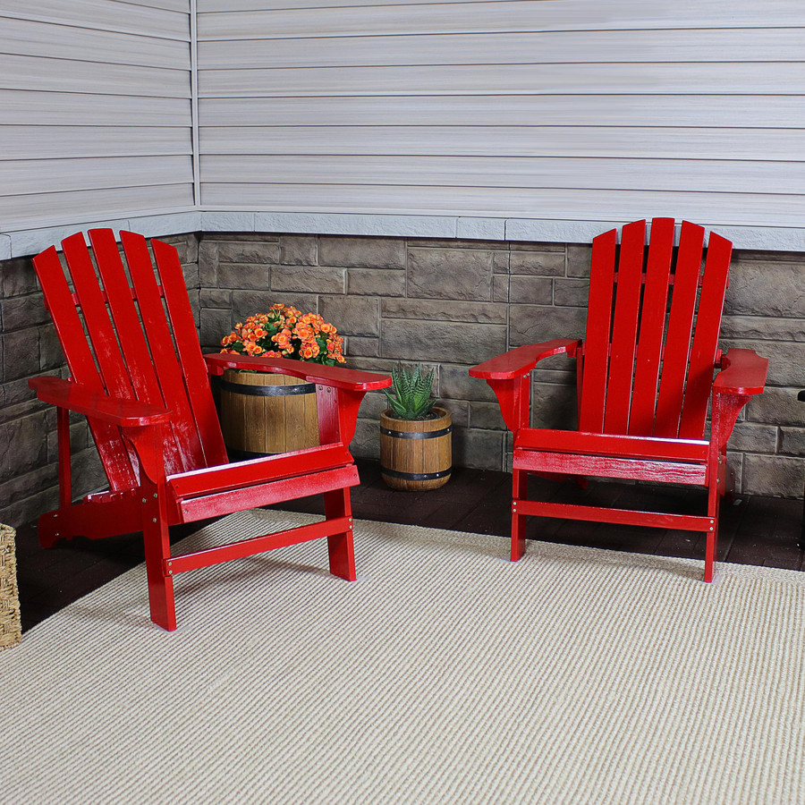 Coastal Bliss Set of 2 Outdoor Wooden Adirondack Patio Chairs, Red