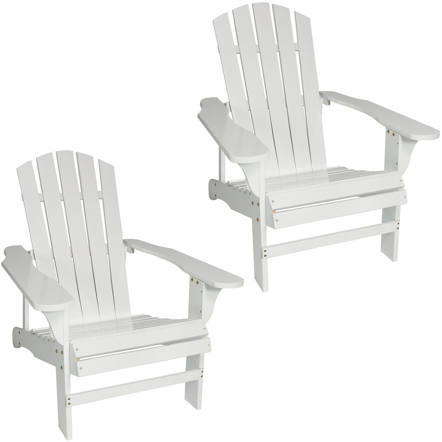 Coastal Bliss Set of 2 Outdoor Wooden Adirondack Patio Chairs, White