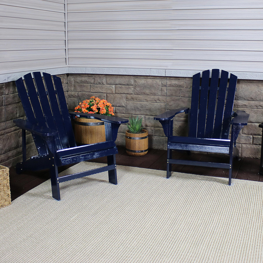 Coastal Bliss Set of 2 Outdoor Wooden Adirondack Patio Chairs, Navy Blue