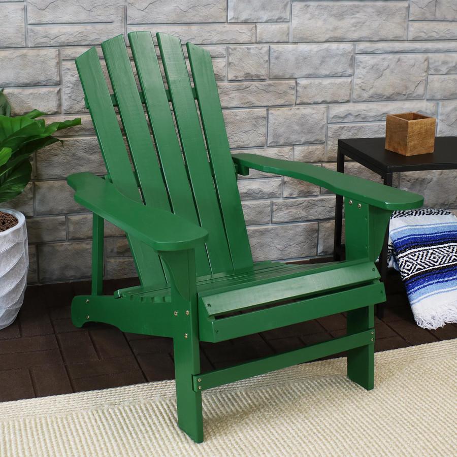 Coastal Bliss Outdoor Wooden Adirondack Patio Chair, Green