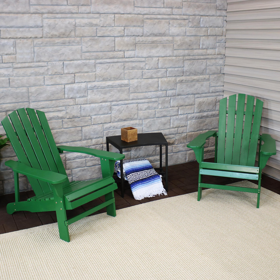 Coastal Bliss Set of 2 Outdoor Wooden Adirondack Patio Chairs, Green