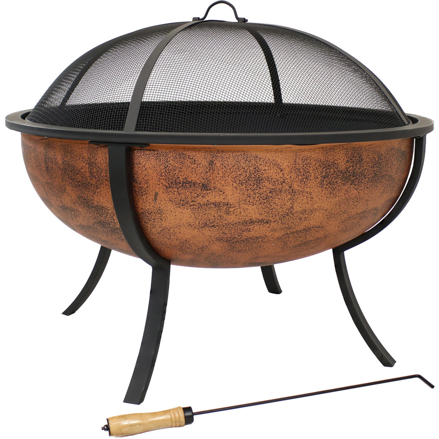Sunnydaze Large Copper Finished Outdoor Fire Pit Bowl, Wood Burning Patio Firebowl with Spark Screen, 32-Inch