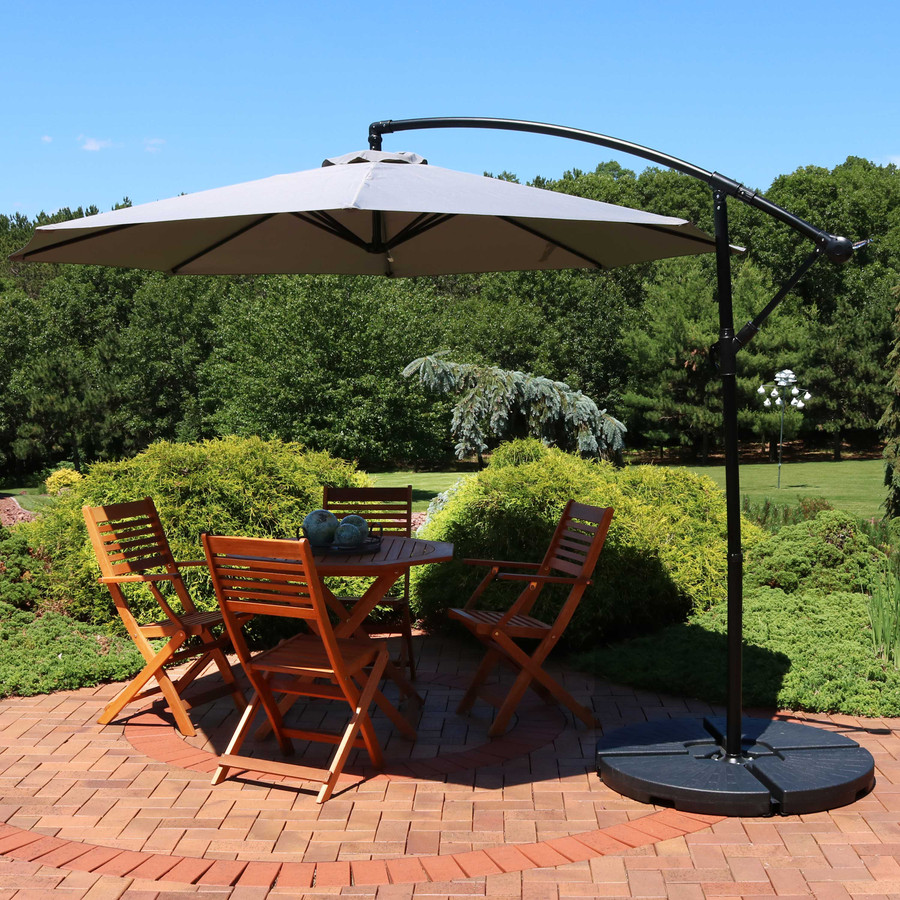 Sunnydaze Offset Outdoor Patio Umbrella with Crank, Multiple Colors Available