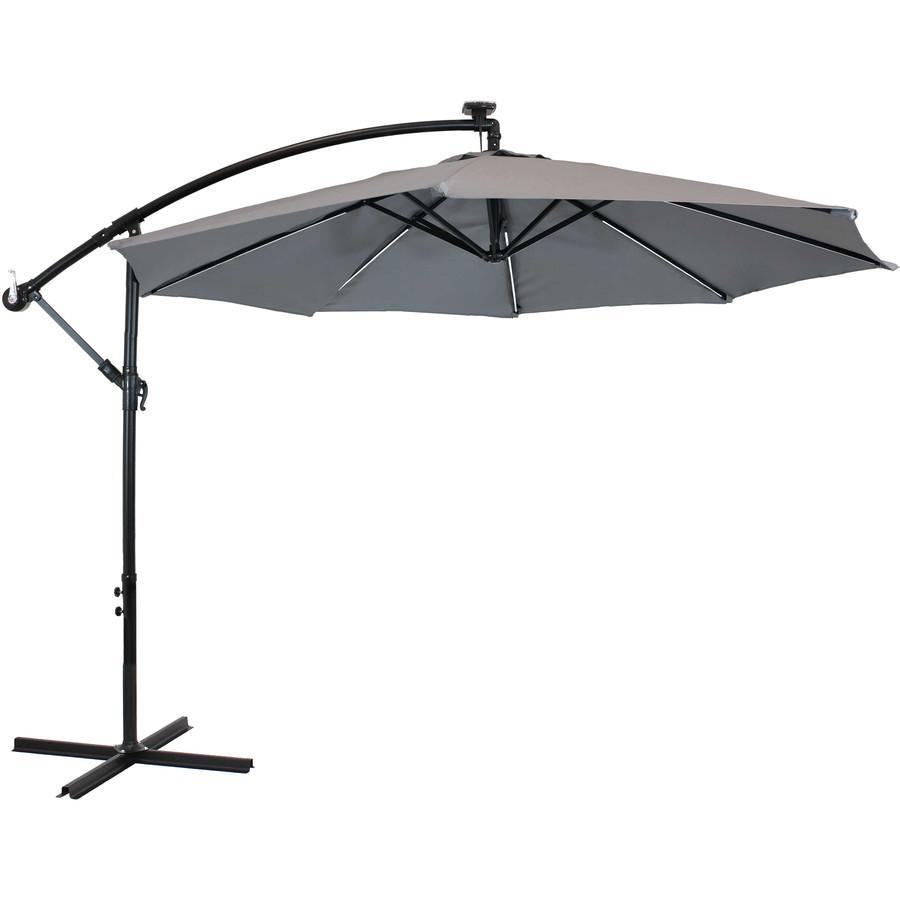 Offset Outdoor Patio Umbrella with Solar Lights, Smoke