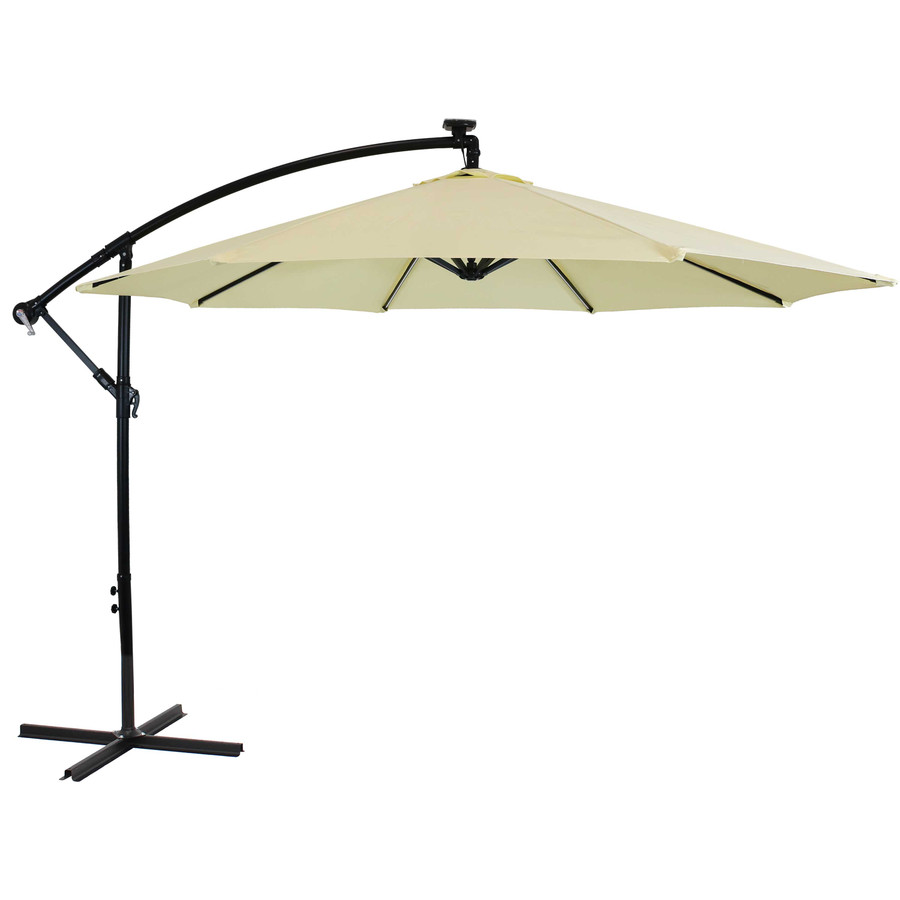 Offset Outdoor Patio Umbrella with Solar Lights, Pale Buttercup