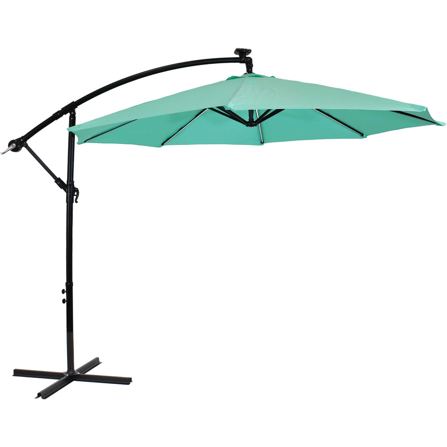 Offset Outdoor Patio Umbrella with Solar Lights, Seafoam