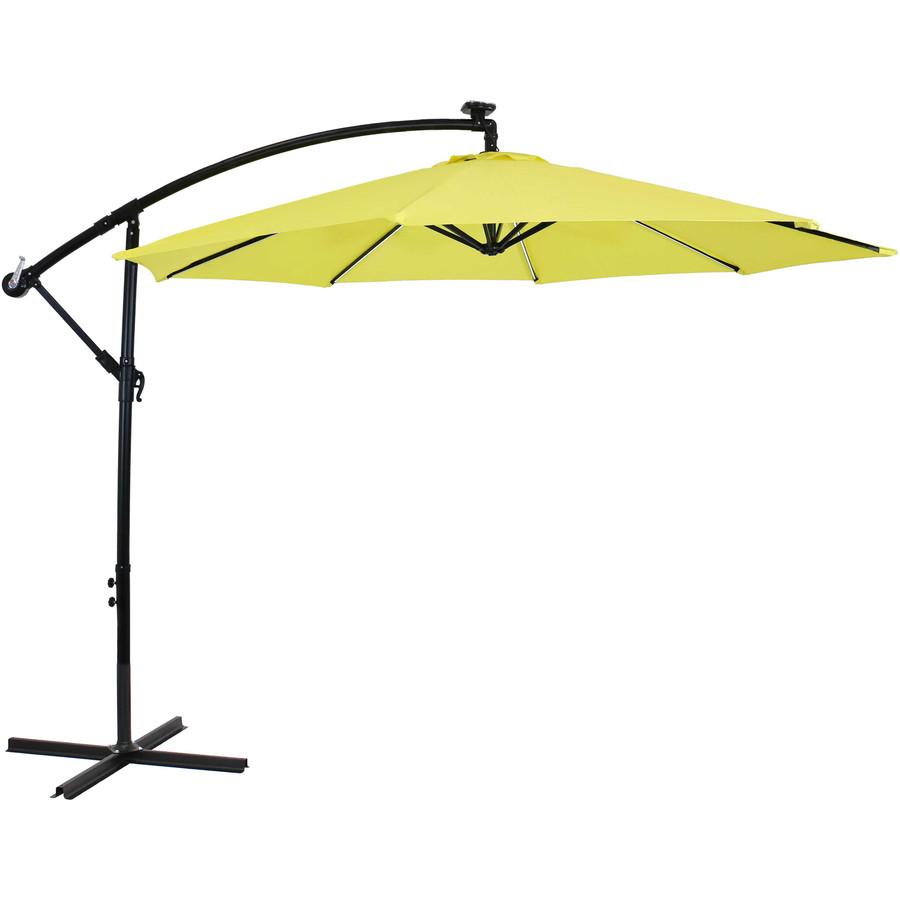 Offset Outdoor Patio Umbrella with Solar Lights, Sunshine