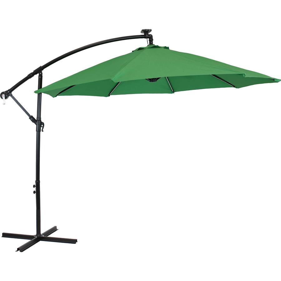 Offset Outdoor Patio Umbrella with Solar Lights, Emerald