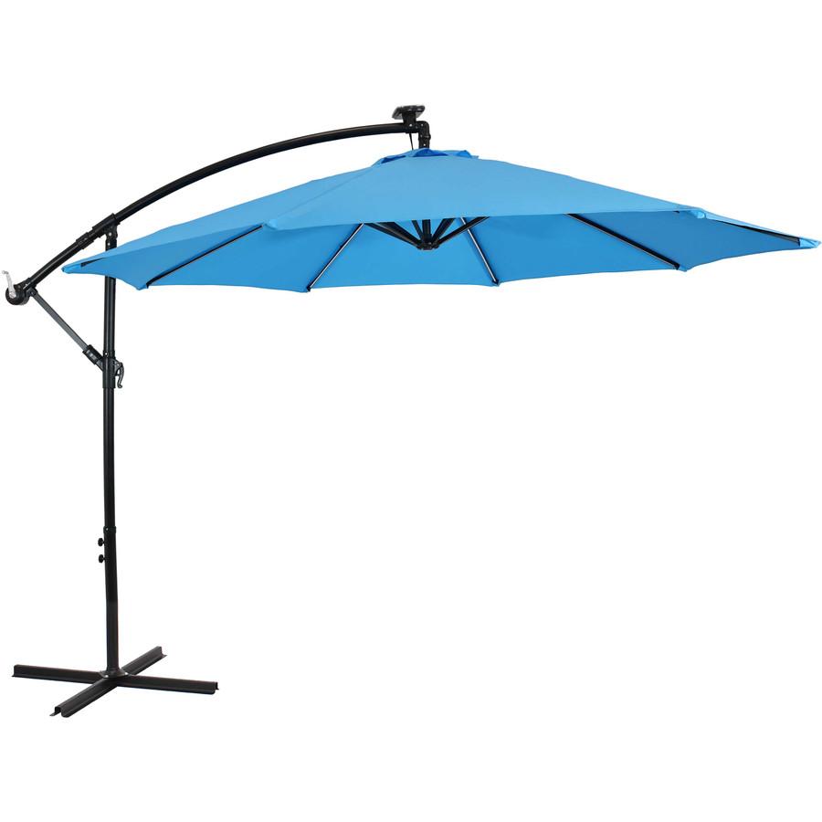 Offset Outdoor Patio Umbrella with Solar Lights, Azure