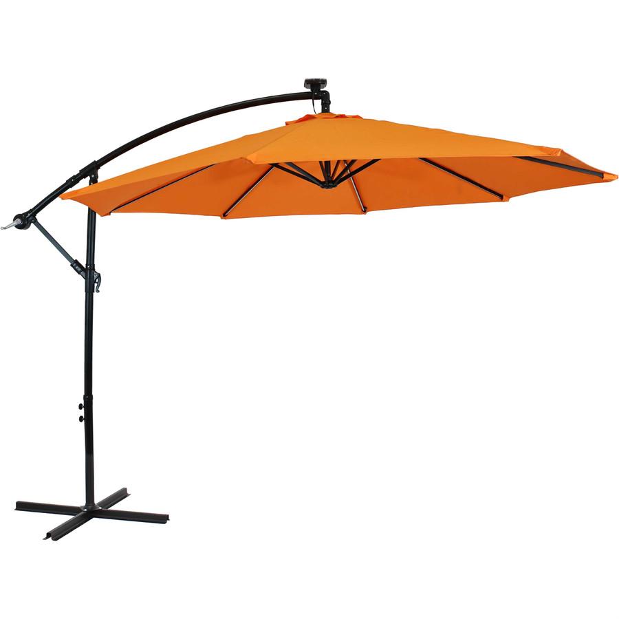 Offset Outdoor Patio Umbrella with Solar Lights, Tangerine