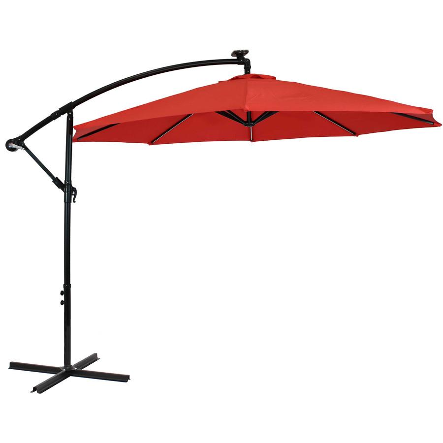 Offset Outdoor Patio Umbrella with Solar Lights, Cherry
