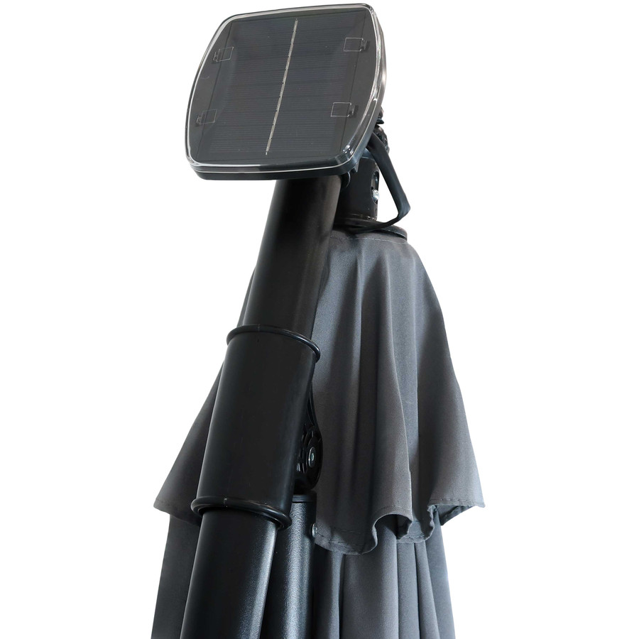 Closeup of Top of Umbrella with Solar Panel, Smoke