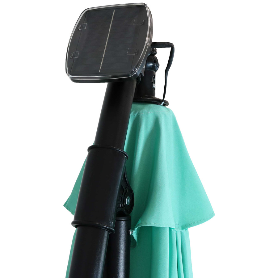 Closeup of Top of Umbrella with Solar Panel, Seafoam