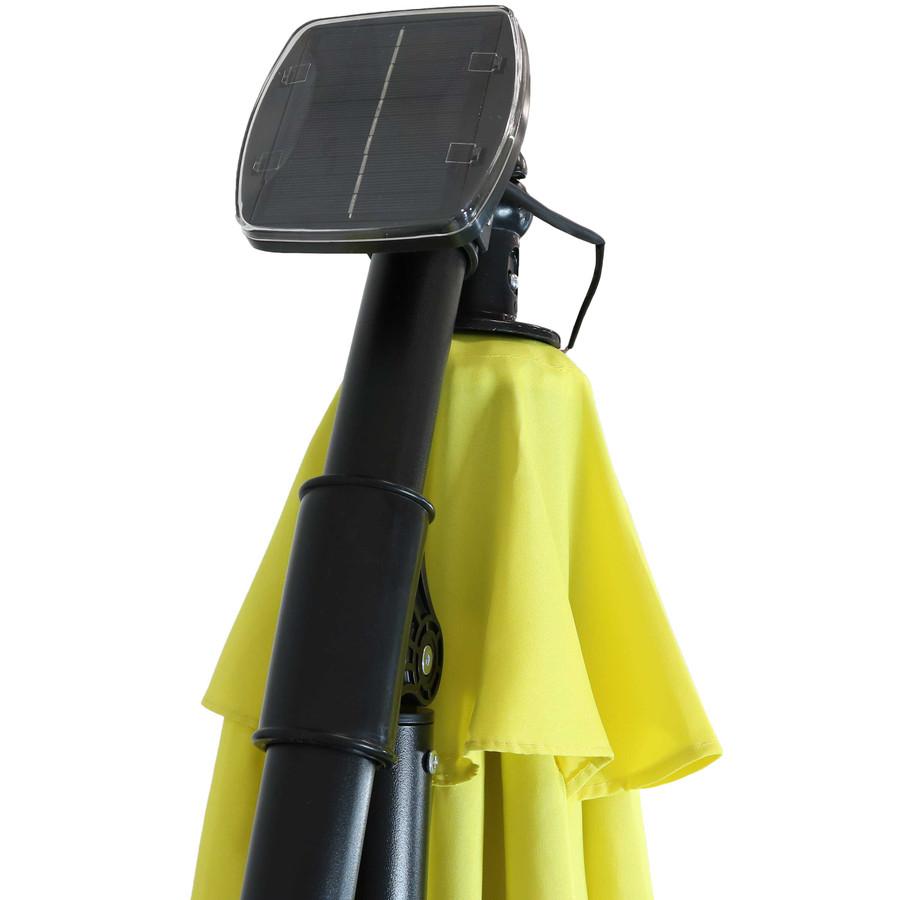 Closeup of Top of Umbrella with Solar Panel, Sunshine