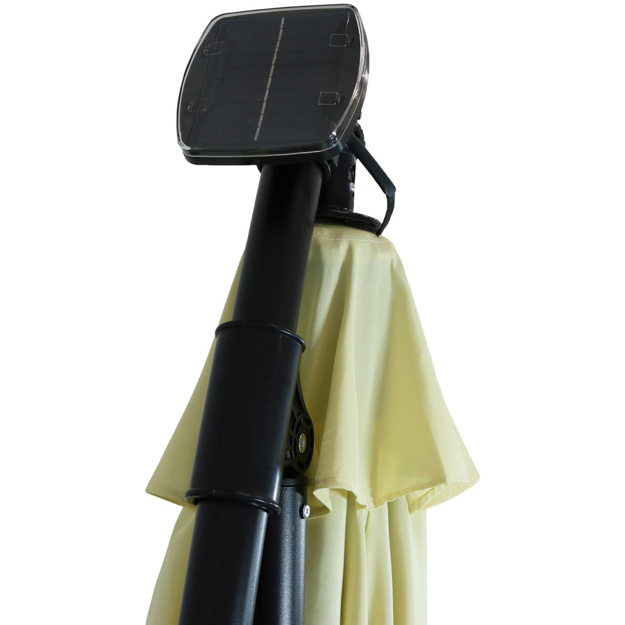 Closeup of Top of Umbrella with Solar Panel, Pale Buttercup