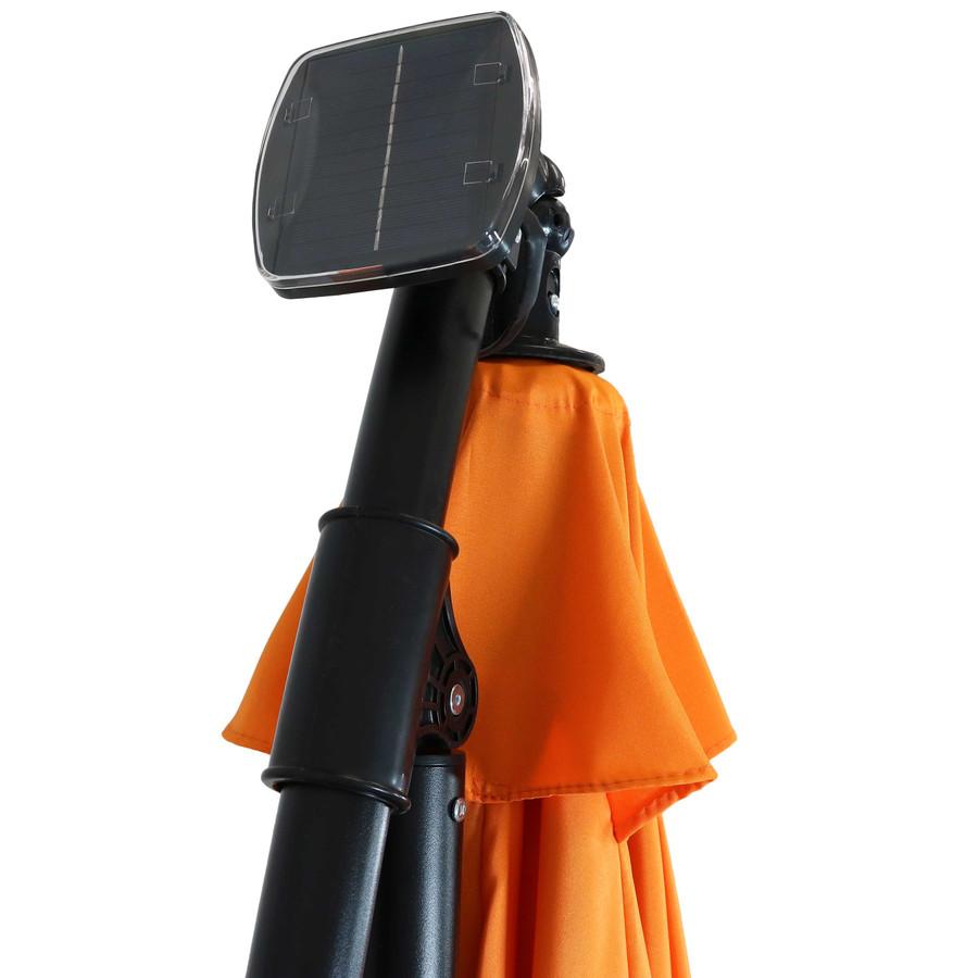 Closeup of Top of Umbrella with Solar Panel, Tangerine