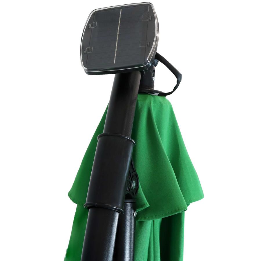 Closeup of Top of Umbrella with Solar Panel, Emerald