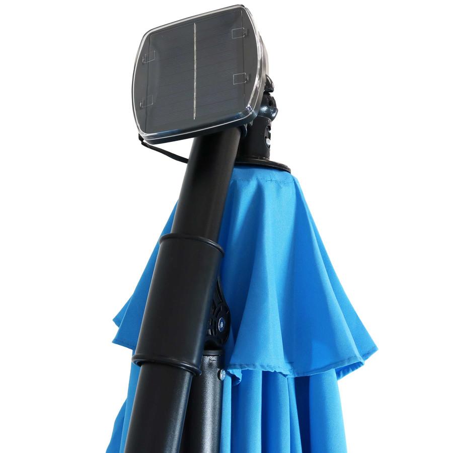 Closeup of Top of Umbrella with Solar Panel, Azure