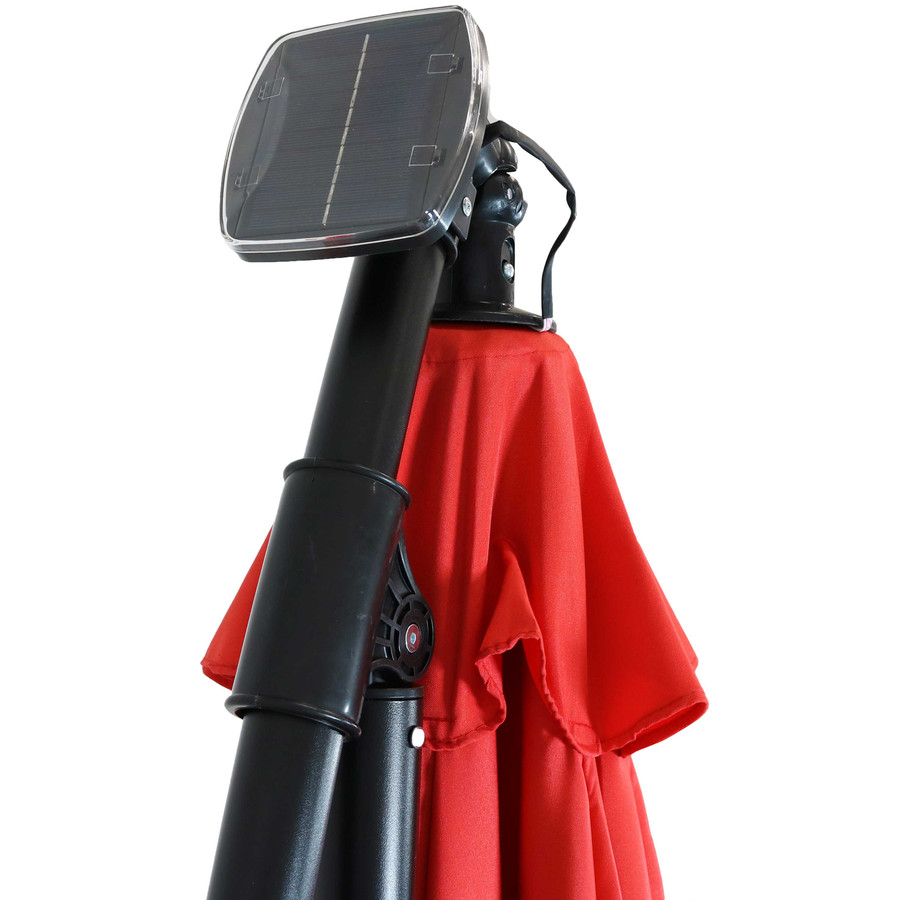 Closeup of Top of Umbrella with Solar Panel, Cherry