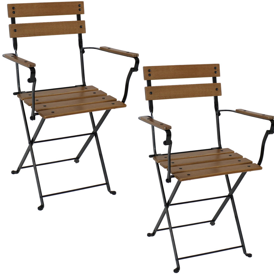 Sunnydaze Basic European Chestnut Wooden Folding Small Bistro Dining Armchair - Portable, Compact Side Chair (2 Count)
